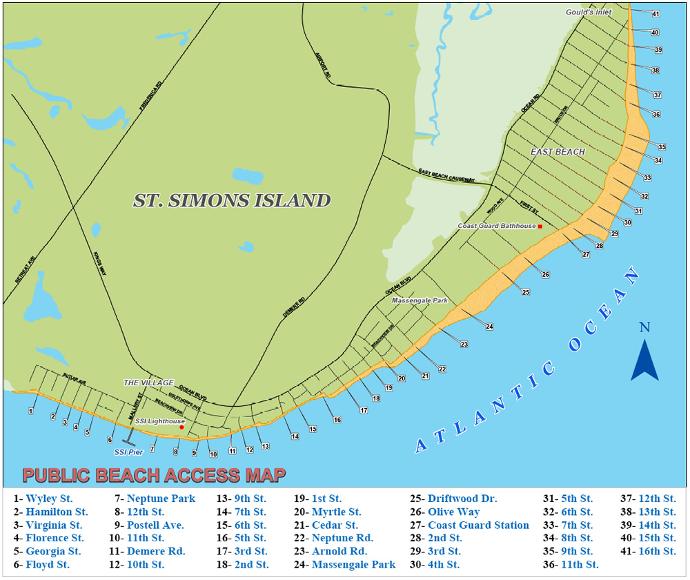 St. Simons Island Beach Map